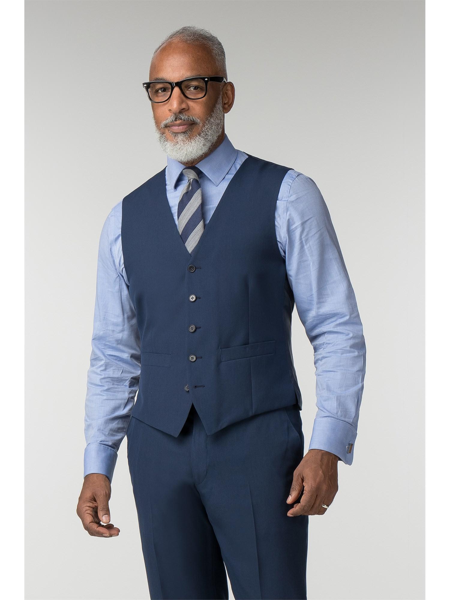89341d5cd69 Scott Taylor Plain Blue Panama Regular Fit Waistcoat 38R Blue