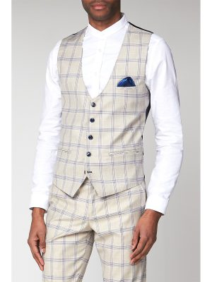 Marc Darcy Buxton Cream Check Slim Fit Waistcoat 50R Cream