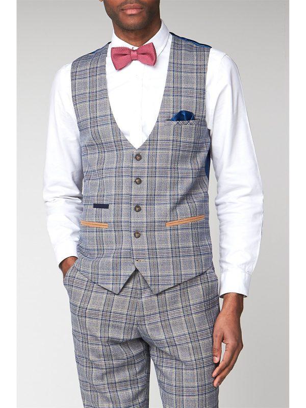 Marc Darcy Enzo Sky Stone Check Slim Fit Waistcoat 42R Blue