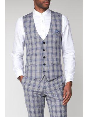 Marc Darcy Jack Grey Check Slim Fit Waistcoat 42R Grey