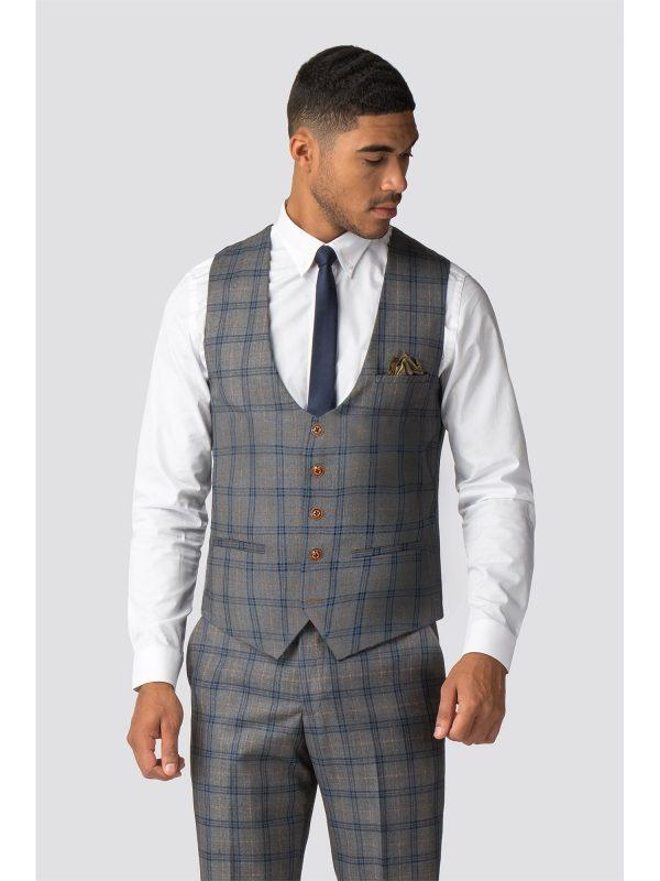 Marc Darcy Logan Grey Blue Check Waistcoat 50R Grey